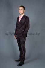 01971 Двубортный костюм черный в полоску (KAO8Y 20-48)