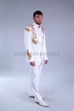 02042 Мужской белый костюм с вышивкой