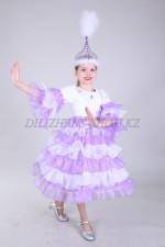 0063. Казахский костюм для девочек с сиреневыми оборками