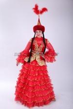 02088 Казахский классический костюм, красный (большой размер)
