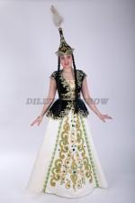 02087 Казахский стилизованный костюм в зеленом цвете