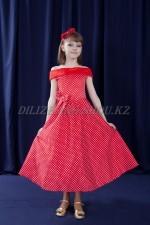 0399. Коктейльное платье стиляжное в горошек