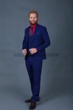 01985 Мужской костюм тройка синий