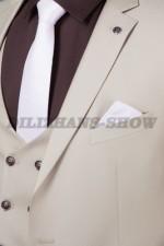 02018 Бежевый костюм тройка
