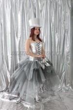 02743 Серебристая юбка-шопенка