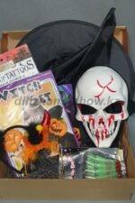 № 134 Halloween 02 - 12 200 тг (Маска, ободки: чертик, тыква, колпак, набор ведьмы, пальцы зомби, грим, наклейки-татуировки)