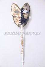 03653 Полумаска венецианская на палочке