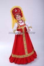 4223. Русский народный сарафан Аленушка красный