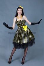 5801. Костюм для стиляги женский. В комплекте: платье, перчатки, ободок.